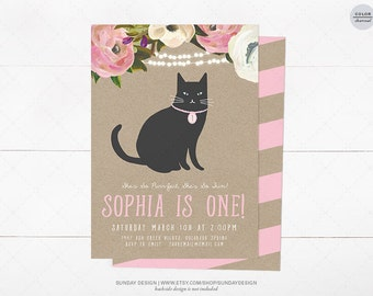 Floral Kitty Birthday Party Invitation Card - DIY Printable Digital File - Kitty Cat Birthday Invitation