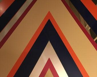 Really Cool Vintage Glam Pop Art Graphic Triangular Chevron Orange and Blue Mirror