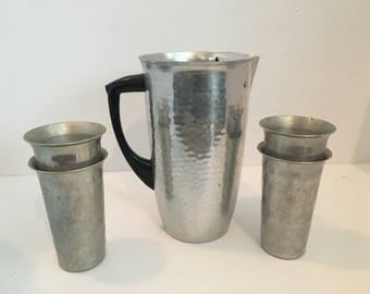 Halsey 5th Avenue Hammered Pitcher & Cup Set - Aluminum - Made in Spain