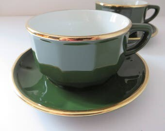 Apilco vintage 1980's tea cup and saucer, Apilco green, French vintage, Apilco porcelain, Tea, Cappuccino cup 2nd Quality