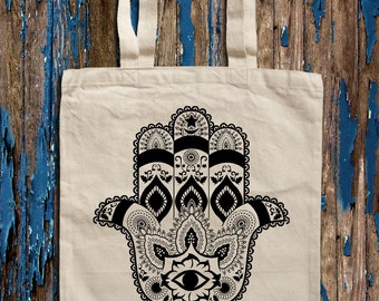 Hamsa ornament graphic print Canvas Tote Bag
