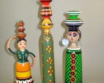 Set of 3 Vintage old Egyptian Wooden Dolls, Hand painted Spindle Dolls, Travel Folk art dolls, Spool dolls, Egypt,
