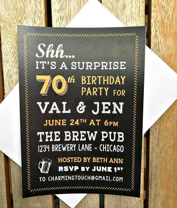 70TH BIRTHDAY INVITATION, Printed Invitations, Beers And