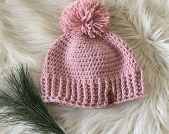 Ready to ship//Pom pom winter hat, pink toboggan, teen knit hat, modern knittted hat, beanie with a pom pom, winter crochet hat
