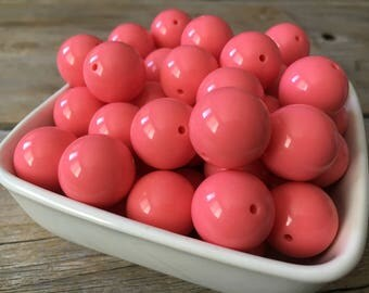 20mm Pink Coral Solid Chunky Bead, Summer Bubblegum Bead, Acrylic Bead, DIY Chunky Necklace, 10 Count