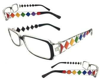 Women's Black 1.50 Strength Reading Glasses with Hand Painted Rainbow Diamond Design