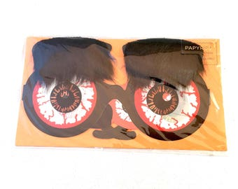 Bloodshot Eyes and Bushy Eyebrows Glasses Halloween Card, Papyrus Greetings Halloween Card Bouncing Lenticular Eyeglasses by Papyrus