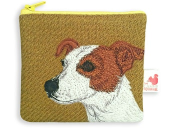 Dog purse, olive green, Harris Tweed, coin purse, Jack Russell terrier