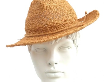 Handmade hat woven straw vintage 50's made in italy