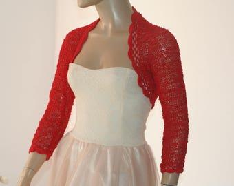 Wedding Bridal Bolero Shrug Lace Crochet Shrug Boleros Red