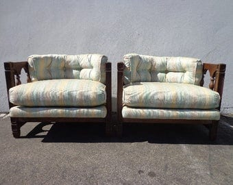 2 chairs vintage barrel set of chairs loungers armchair accent chair seating wood hollywood regency mid