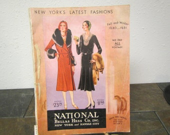1930 & 1931 NATIONAL BELLAS HESS Co. Fall and Winter New York Fashion Catalog ** 1930s  Fashions, advertising and prices