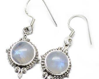 Moonstone Earrings,Sterling Silver Moonstone Round Earring,Rainbow Moonstone Jewelry,Gemstone Earring,Everyday Earrings,Silver Stone Earring