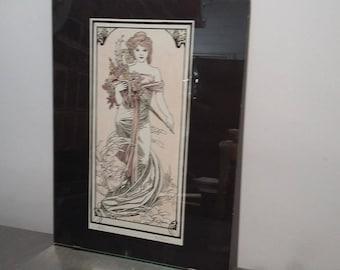Limited Edition B J Barnes 4/50 Art Nouveau Lady Print.