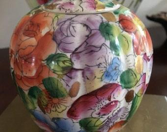 Vintage Floral Chinese Pumpkin Jar