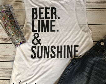 Summer Muscle Tank Top Beer Lime Sunshine
