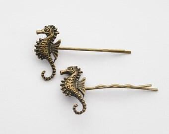 Mermaid Hair Accessories, Seahorse Hair Clips, Seahorse Jewelry, Seahorse Bobby Pins, Antiqued Brass Hair Clips, Steampunk Hair Pins
