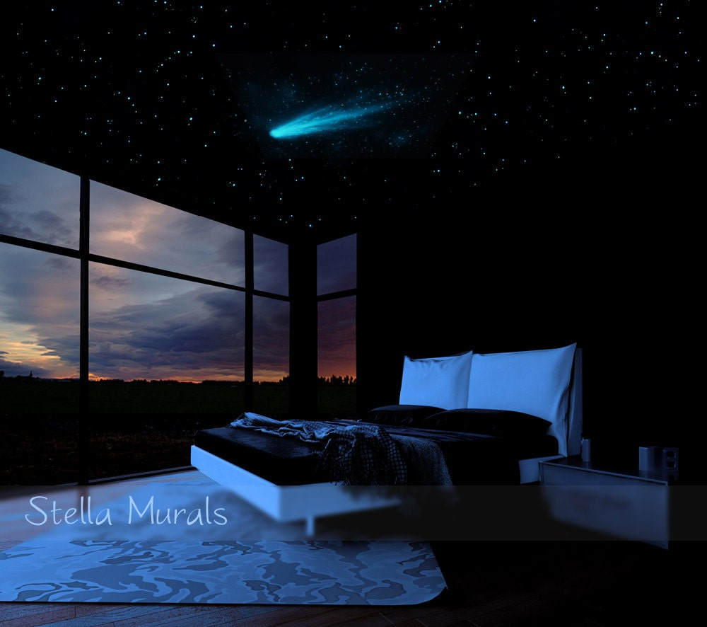 Bedroom ceiling lights stars - Star Ceiling Comet And Shooting Stars Decals 200 1000 Glow Star Stickers