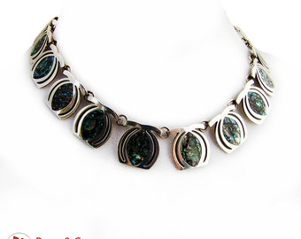 Mexican Abalone Shell Inlay Choker Necklace Sterling Silver Taxco