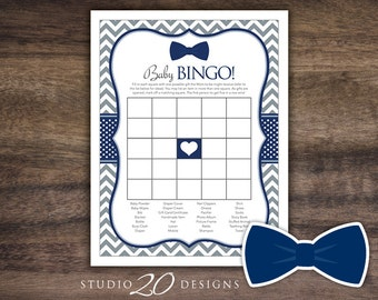 Instant Download Navy Bow Tie Baby Shower Bingo Game, Printable Little Man Baby Bingo, Grey Navy Chevron Baby Shower Bingo Game 79E