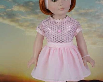American Girl or 18 Inch Doll SKIRT in Soft Pink Chiffon with Pink Sparkle TEE Shirt Top Jewelry and SANDALS Option