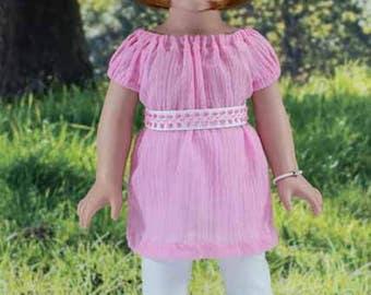 American Girl or 18 Inch Doll DRESS Tunic Top LEGGINGS Belt Bracelet and SANDALS Option