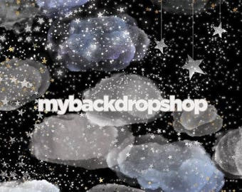 8ft x 8ft Starry Night Sky Photo Backdrop - Moon and Stars Photography Drop - Infant Photo Session Prop - Outer Space Photo Prop - Item 3135