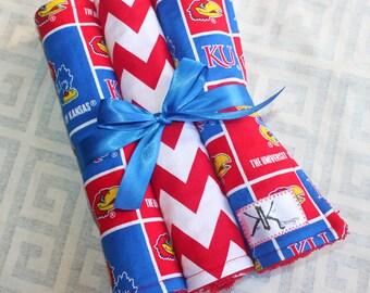 Custom Kansas Jayhawk Burp Cloths