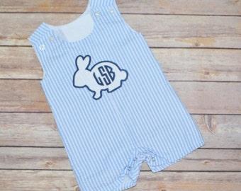 Boy Easter outfit, Boy Easter jon jon, Easter shortall, baby boy Easter outfit, Easter bunny shirt, Baby boy monogram, Seersucker outfit