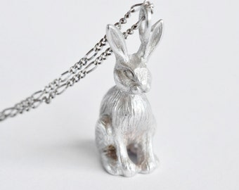 Silver bunny necklace, Easter gift, Animal necklace, rabbit necklace, bunny jewellery