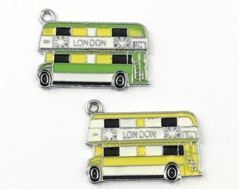 2 London bus charm enamel and silver tone ,20mm x 25mm # CH 177-2