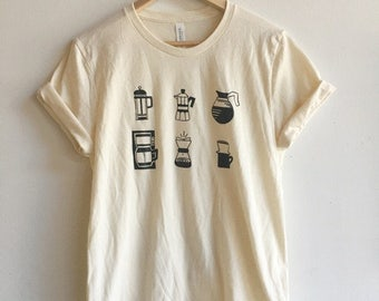 Coffee T-Shirt, Food Shirt, Coffee Screen Printed T Shirt, Soft style tee