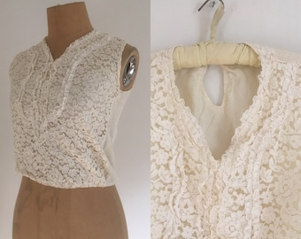 50's edwardian style blouse/ 50s  ivory lace top / Vtg Preppy ivory white lace front blouse