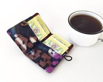 Ankara Tea wallet, tea bag holder,  tea lover gift her,  tea bag storage, tea party favors, tea bag case, tea lovers gift, tea carrier