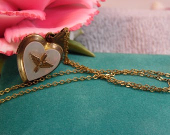 WW2 US Army Aviator Pilot Wings Goldfilled Sweetheart Locket Necklace