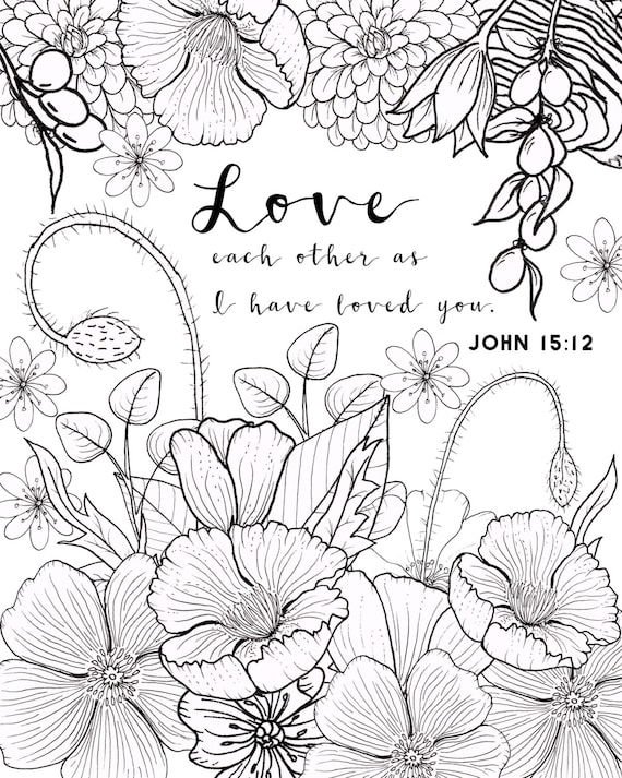 John 1512 Coloring Page Love Adult Flower