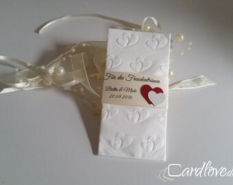 "10 x tears of joy band with embossed tissue ""Double heart"""