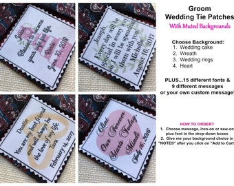 """Ink Printed GROOM'S TIE PATCH - Choose Background, Message, Font - 2.5"""" x 2.5"""" Sew on or Iron On - Wedding Tie Patch, Groom Gifts"""