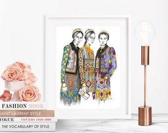 Valentino Trio/ Fashion Illustration / Fashion Print