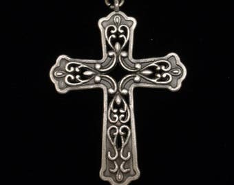 Silver Tone Metal Cross Pendant Ornate Design Both Sides