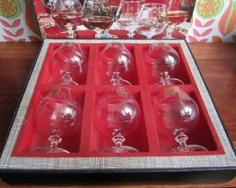 6 vintage Cristal D'Arques Cognac glazen duidelijk kristalglas MCM Barware glaswerk Cocktails drinken wijn > 24% lood oorspronkelijke vak Frankrijk 70s