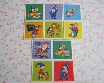 Set of 10 Vintage Noddy Memory Cards Big Ears Tessie Bear Bumpy Dog Tubby Bears Children's Toy Game Craft Supplies Scrapbooking Cards 70s