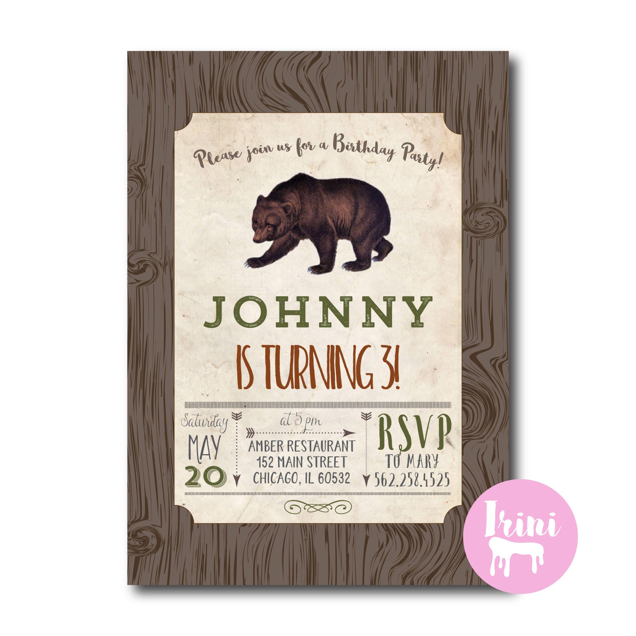 Bear vintage Baby birthday party invitation | Boy Baby bear ...