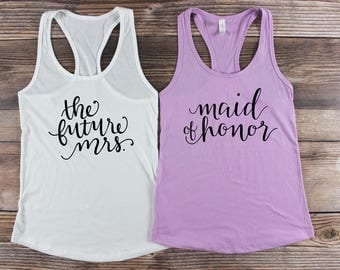 Bridal Party Shirts/ Bridal Party Tank Tops/ Team Bride Shirts/ Maid of Honor Shirt/ Bridesmaid Tank top Bachelorette Party Tank Tops Purple