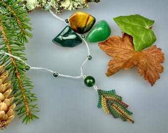 Hand Crocheted Leaf Pendant Microcrochet Necklace Agate Sterling Silver Cotton Forest Leaves Tree Woodland Natural Nature Autumn Green Brown