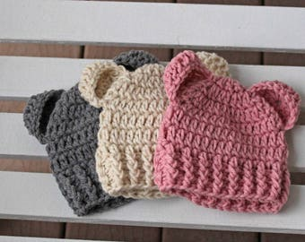 Baby Bear Hat, Baby Bear Beanies, Infant, Newborn, Crochet Hat, Adult Hats, Baby Hat, Children Hats, Toddler Hats, Girl Hats, Boy Hats