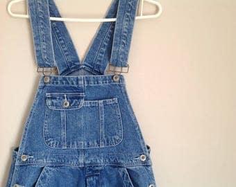 Vintage unisex bib overalls women's  men's faded blue jeans bib overalls dungarees women's bib overalls salopette femme