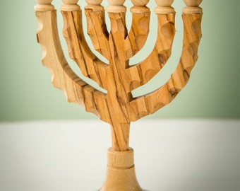 Menorah/Olive Wood/Holy Land/Handmade/Prayer/Encouragement Gift - MS17
