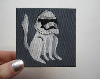 "Stormtrooper White Cat Painting, 3x3"" Star Wars Cat Art, Stormtrooper Cat Painting by Amber Maki"