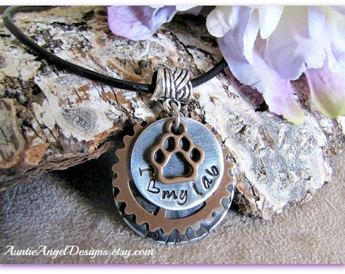 Featured listing image: Stamped Dog Breed Jewelry, Custom Dog Lover Necklace, Gift for Dog Mom, Gift for Cat Mom, Stamped Paw Print Jewelry, Fundraising Pet Gift